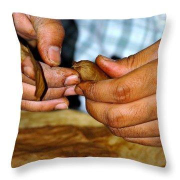 Cuban Cigar Roller Throw Pillow