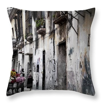 Cuban Flower Vendor Throw Pillow