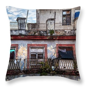 Throw Pillow featuring the photograph Cuban Woman At Calle Bernaza Havana Cuba by Charles Harden