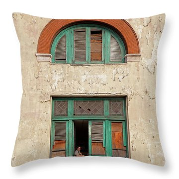 Throw Pillow featuring the photograph Cuban Woman On San Pedro Balcony Havana Cuba by Charles Harden