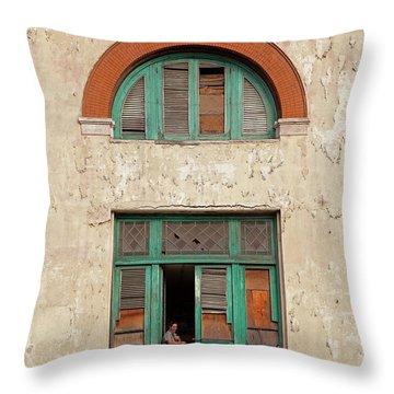 Throw Pillow featuring the photograph Cuban Woman On San Pedro Balcony Havana Cuba by Charles Harden