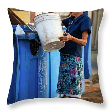 Throw Pillow featuring the photograph Cuban Woman With Cigar by Joan Carroll