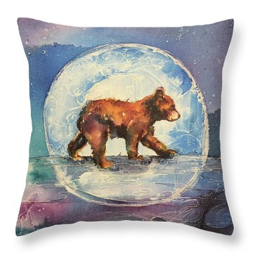 Throw Pillow featuring the painting Cubbie Bear by Christy Freeman