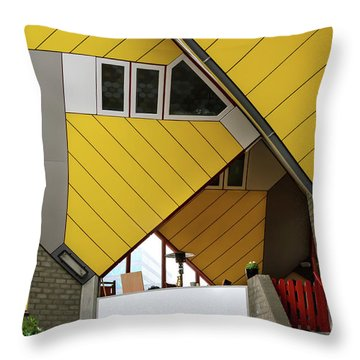 Throw Pillow featuring the photograph Cube Houses Detail In Rotterdam by RicardMN Photography