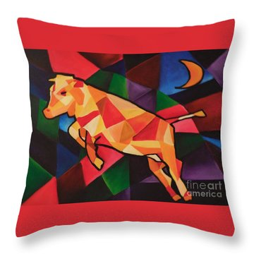 Cubism Cow Throw Pillow