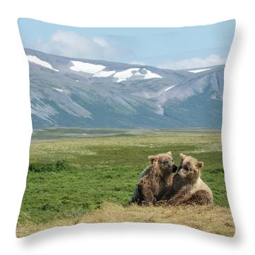 Cubs Playing On The Bluff Throw Pillow