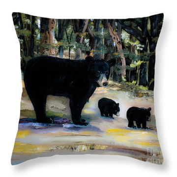Cubs With Momma Bear - Dreamy Version - Black Bears Throw Pillow