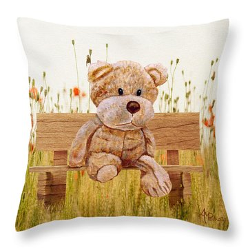 Throw Pillow featuring the mixed media Cuddly In The Garden by Angeles M Pomata