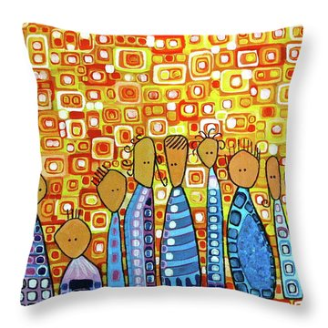 Throw Pillow featuring the painting cue by Donna Howard