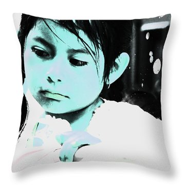 Throw Pillow featuring the photograph Cuenca Kids 886 by Al Bourassa