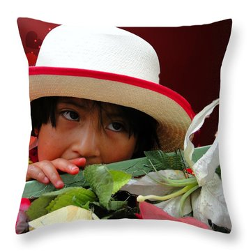 Throw Pillow featuring the photograph Cuenca Kids 887 by Al Bourassa
