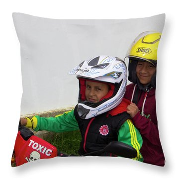 Throw Pillow featuring the photograph Cuenca Kids 889 by Al Bourassa