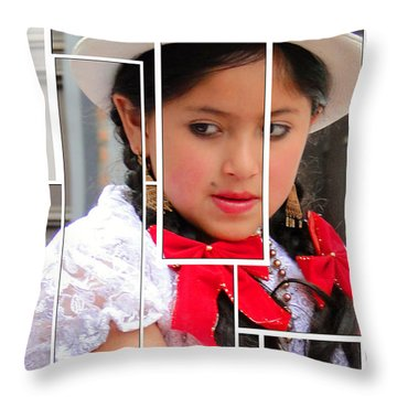 Throw Pillow featuring the photograph Cuenca Kids 890 by Al Bourassa