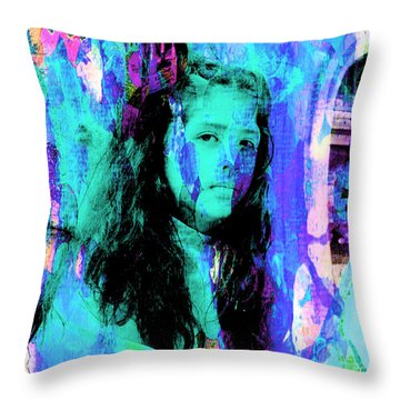 Throw Pillow featuring the photograph Cuenca Kids 892 by Al Bourassa