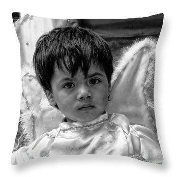 Throw Pillow featuring the photograph Cuenca Kids 893 by Al Bourassa