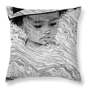 Throw Pillow featuring the photograph Cuenca Kids 894 by Al Bourassa