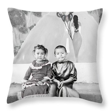 Throw Pillow featuring the photograph Cuenca Kids 896 by Al Bourassa