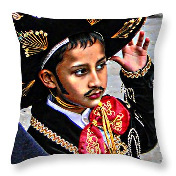 Throw Pillow featuring the photograph Cuenca Kids 897 by Al Bourassa