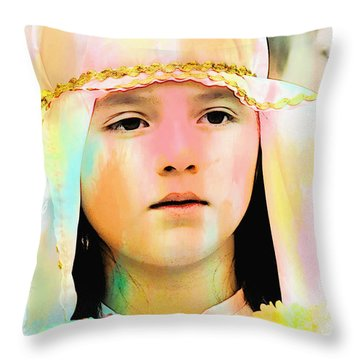Throw Pillow featuring the photograph Cuenca Kids 899 by Al Bourassa