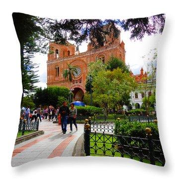 Cuenca Parque Calderon Y Santa Ana Throw Pillow