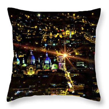 Throw Pillow featuring the photograph Cuenca's Historic District At Night by Al Bourassa