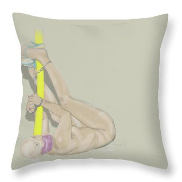 Throw Pillow featuring the mixed media Cuffed Fucktoy by TortureLord Art