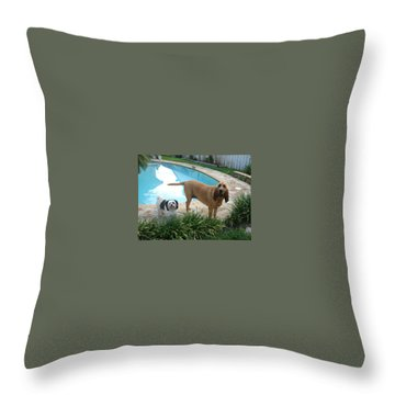 Cujo And Lucky Throw Pillow by Val Oconnor