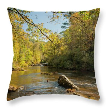 Cullasaja River Nc Throw Pillow