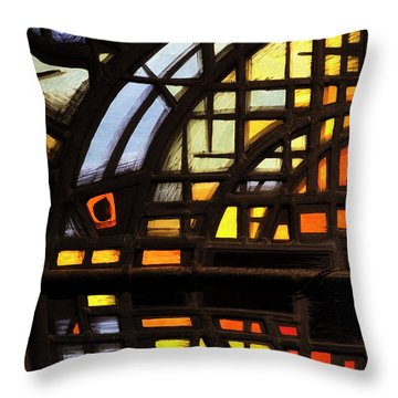 Throw Pillow featuring the photograph Culross Abbey - Stained Glass by Jeremy Lavender Photography