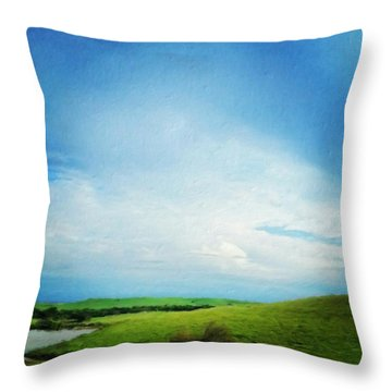 Cultivating Green And Blue Landscape Throw Pillow