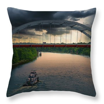 Gateway Bridge Over The Cumberland River, Nashville, Tn Throw Pillow