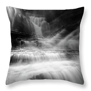 Cummins Falls In Black And White Throw Pillow