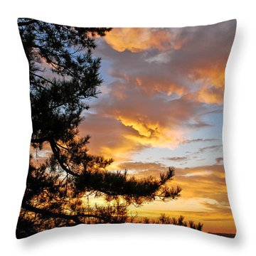 Cumulus Clouds Plum Island Throw Pillow by Michael Hubley