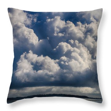 Throw Pillow featuring the photograph Cumulus Over The River by William Selander