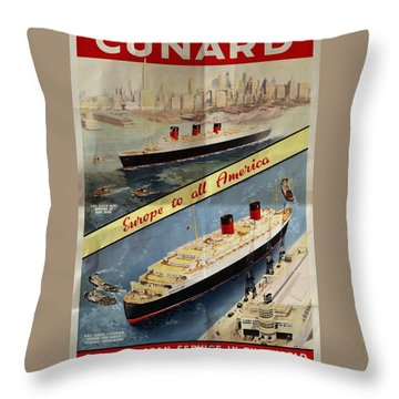 Cunard - Europe To All America - Vintage Poster Folded Throw Pillow