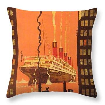 Cunard Ocean Liner Poster Throw Pillow