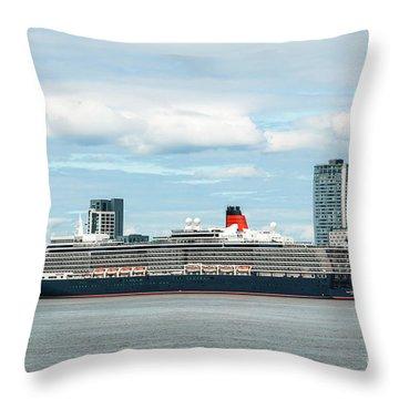 Cunard's Queen Elizabeth At Liverpool Throw Pillow
