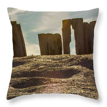 Cunnigar Beach Wooden Barrier Throw Pillow