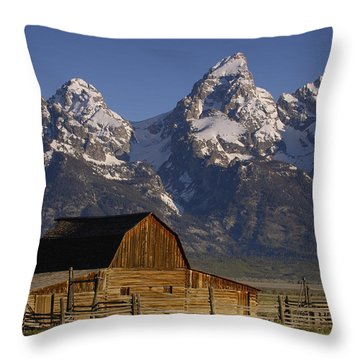 Throw Pillow featuring the photograph Cunningham Cabin In Front Of Grand by Pete Oxford