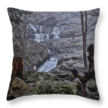 Throw Pillow featuring the photograph Cunningham Falls In The Rain And Fog by Mark Dodd