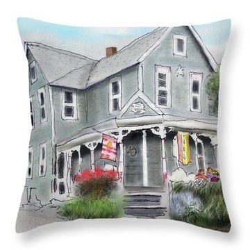 Throw Pillow featuring the drawing Cup A Joes Coffee Shop by Albert Puskaric