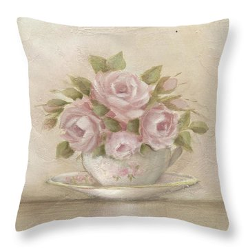 Cup And Saucer  Pink Roses Throw Pillow