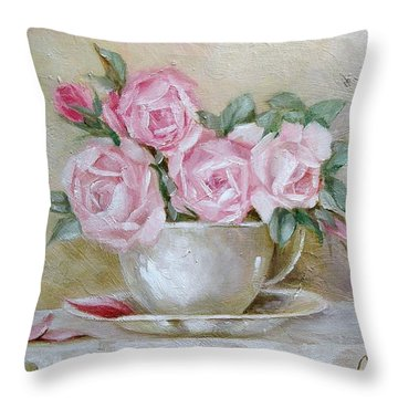 Throw Pillow featuring the painting Cup And Saucer Roses by Chris Hobel