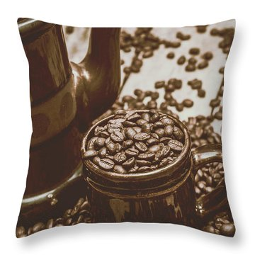 Cup And Teapot Filled With Roasted Coffee Beans Throw Pillow