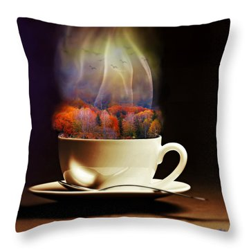 Cup Of Autumn Throw Pillow by Lilia D