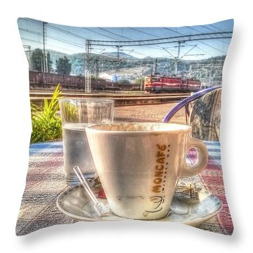 Cup Of Coffee On A Sunny Day Throw Pillow