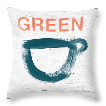 Cup Of Green Tea- Art By Linda Woods Throw Pillow