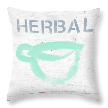 Cup Of Herbal Tea- Art By Linda Woods Throw Pillow