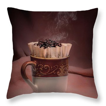 Cup Of Hot Coffee Throw Pillow