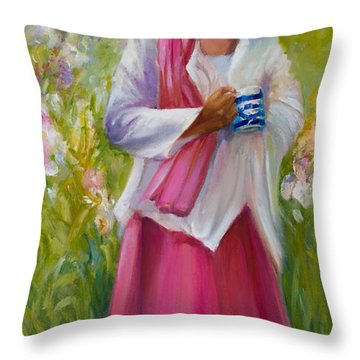 Cup Of Tea? Throw Pillow by Jane Woodward